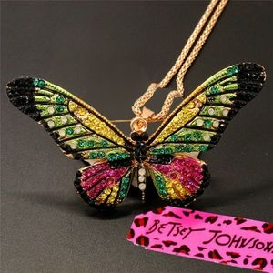 Betsey Johnson Multicolor Crystal Necklace/Brooch